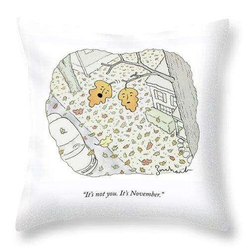 November Leaves Throw Pillow