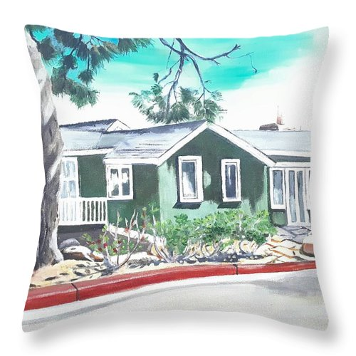 Landscape Throw Pillow featuring the painting Ocean Front House by Andrew Johnson