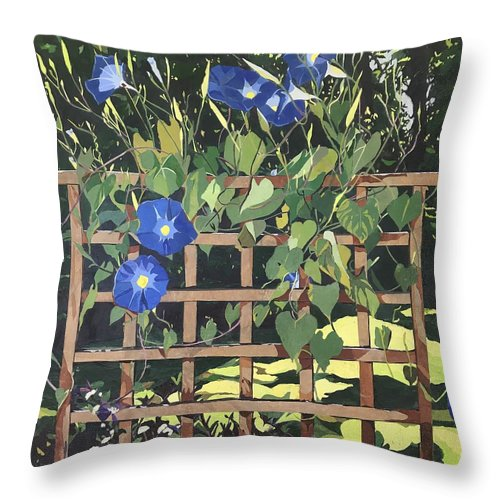 Floral Throw Pillow featuring the mixed media Oh Morning Glories by Leah Tomaino