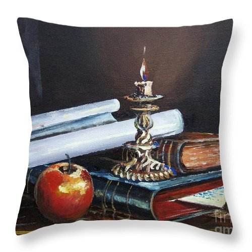Original Painting Throw Pillow featuring the painting Old Books by Sinisa Saratlic
