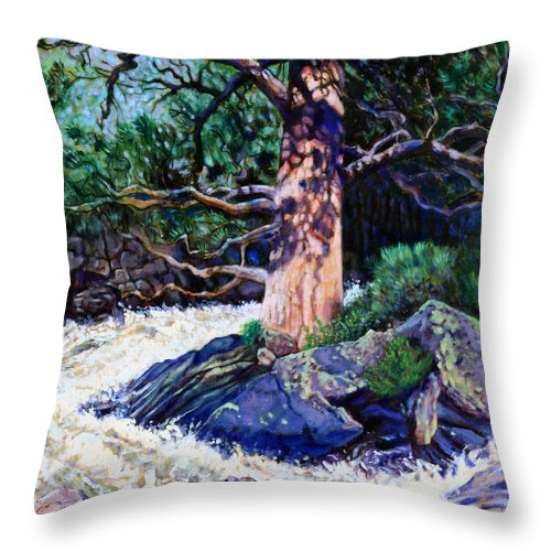Old Pine Throw Pillow featuring the painting Old Pine In Rushing Stream by John Lautermilch
