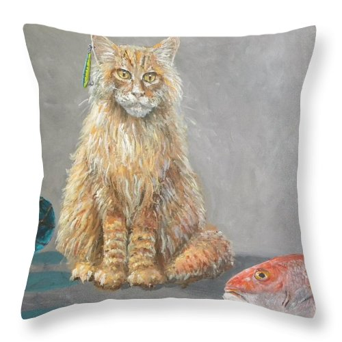 Cat Throw Pillow featuring the painting 'old Salt' The Fisher Cat by Paul Emig