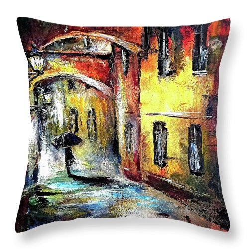 Old Town Throw Pillow featuring the painting Old town streets by Natalja Picugina