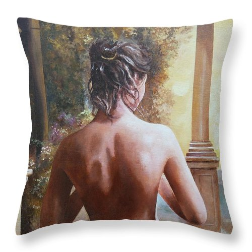 Female Figure Throw Pillow featuring the painting On The Doorway by Sinisa Saratlic
