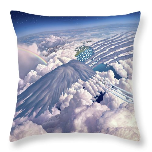 Eagle Throw Pillow featuring the mixed media Onward by Jerry LoFaro