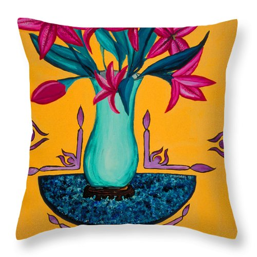Lily Throw Pillow featuring the painting Open Wide by J Andrel