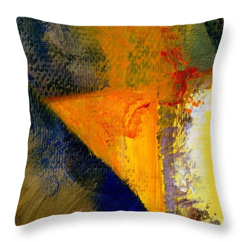Rustic Throw Pillow featuring the painting Orange and Blue Color Study by Michelle Calkins