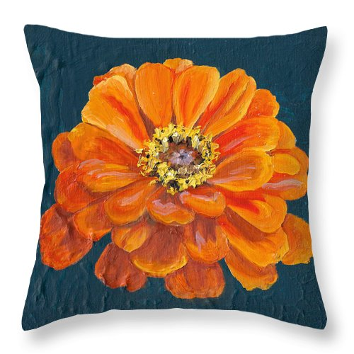 Orange Throw Pillow featuring the painting Orange Zinnia by Brittany Bert Selfe