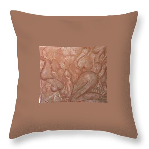 Jandrel Throw Pillow featuring the painting Orgy series - number one by J Andrel