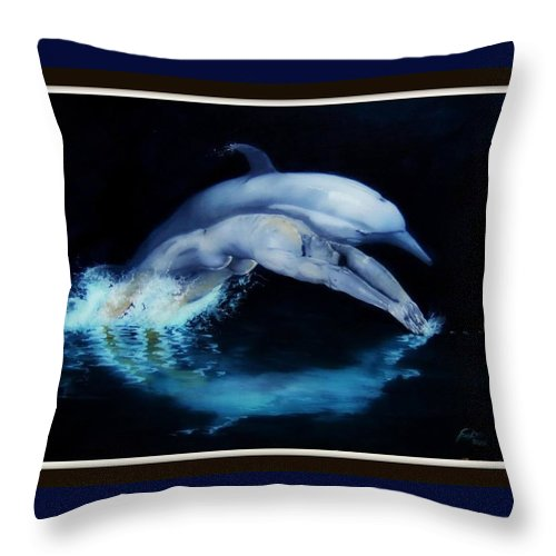 Surreal Throw Pillow featuring the painting Origins by Jane Simpson