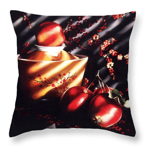 Oriental Throw Pillow featuring the pastel Ornamental Crabapples by Dianna Ponting