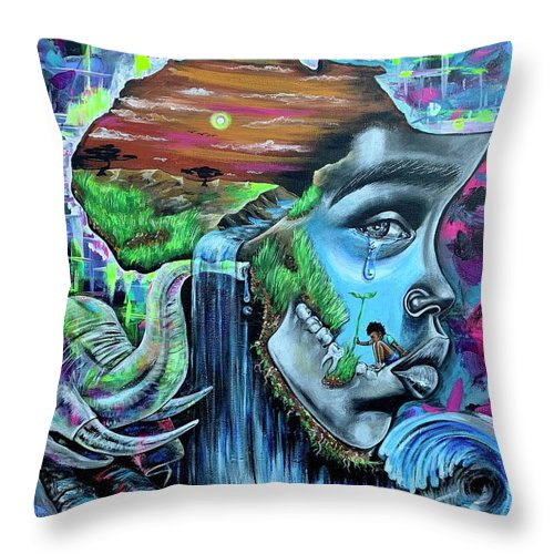 Bhm Throw Pillow featuring the painting Our History- BHM by Artist RiA
