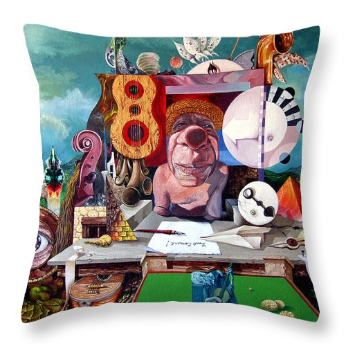Surrealism Throw Pillow featuring the painting Pablos Last Concert by Otto Rapp