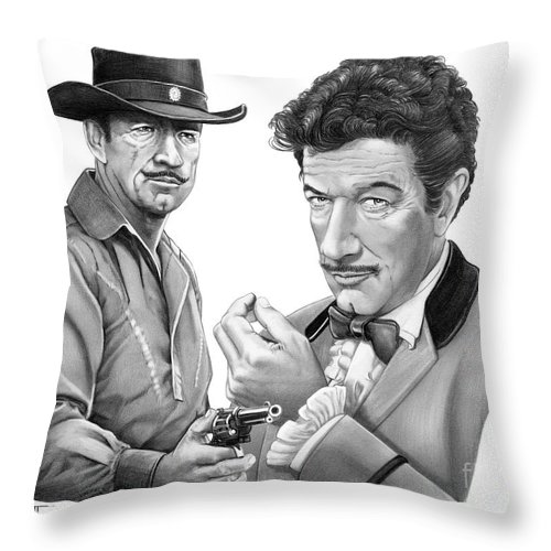 Pencil Throw Pillow featuring the drawing Paladin-Have Gun Will Travel by Murphy Elliott