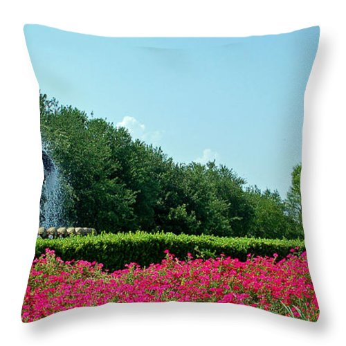 Palmetto Fountain Throw Pillow featuring the photograph Palmetto Fountain in Charleston SC by Suzanne Gaff