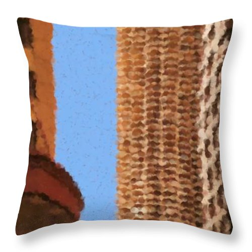 Pancakes Of Chicago Throw Pillow featuring the mixed media Pancakes of Chicago by Asbjorn Lonvig