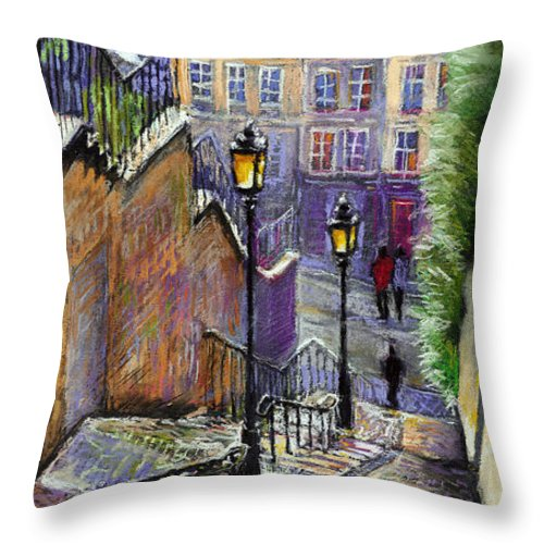 Cityscape Throw Pillow featuring the painting Paris Montmartre Steps by Yuriy Shevchuk