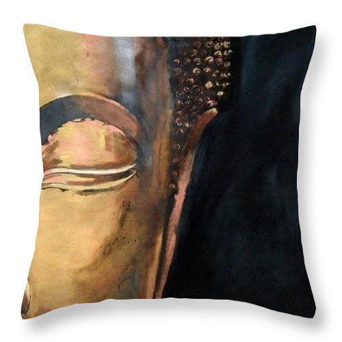 Buddha Throw Pillow featuring the painting Part of the Whole by Jane Simpson
