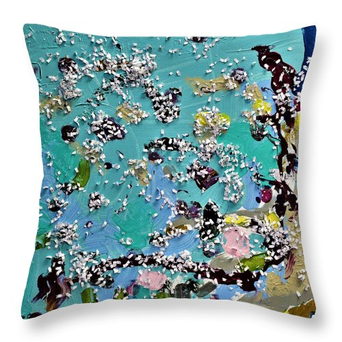 Blue Throw Pillow featuring the painting Party Time by Pam Roth O'Mara