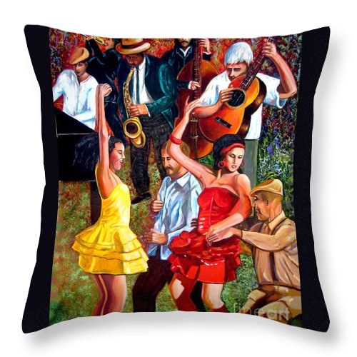 Cuban Art Throw Pillow featuring the painting Party times by Jose Manuel Abraham