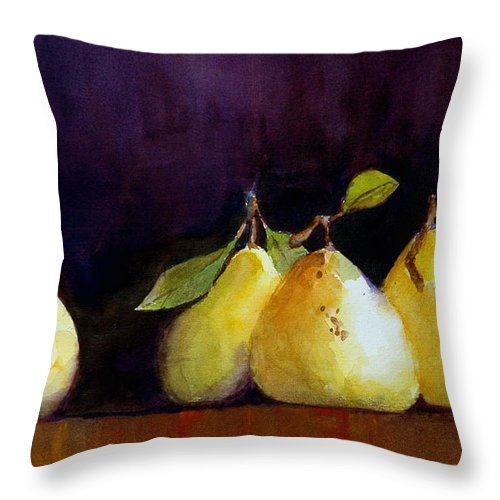 Still Life Throw Pillow featuring the painting Pears by Charles Rowland
