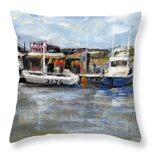 California Throw Pillow featuring the painting Pearson's Port Crab Shack by Randy Sprout