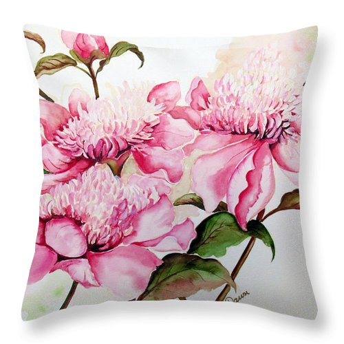 Flower Painting Flora Painting Pink Peonies Painting Botanical Painting Flower Painting Pink Painting Greeting Card Painting Pink Peonies Throw Pillow featuring the painting Peonies by Karin Dawn Kelshall- Best