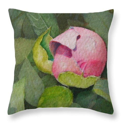 Watercolor Throw Pillow featuring the painting Peony Bud by Mary Ellen Mueller Legault
