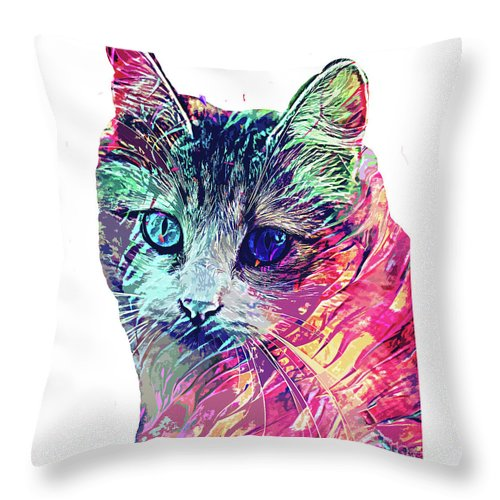 Cat Throw Pillow featuring the digital art Persian abstract cat by Trindira A