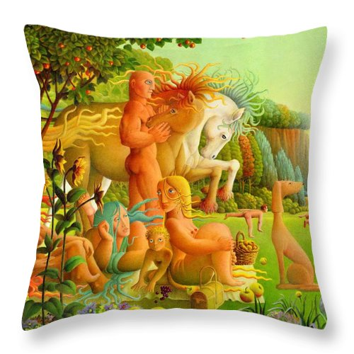 2004 Throw Pillow featuring the painting Picnic by Giuseppe Mariotti