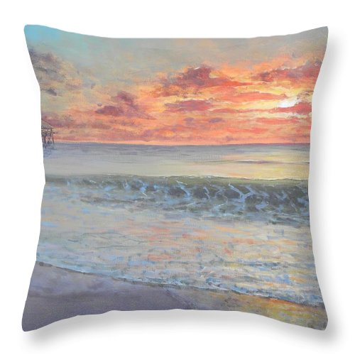 Pier Throw Pillow featuring the painting Pier Sunrise by Paul Emig