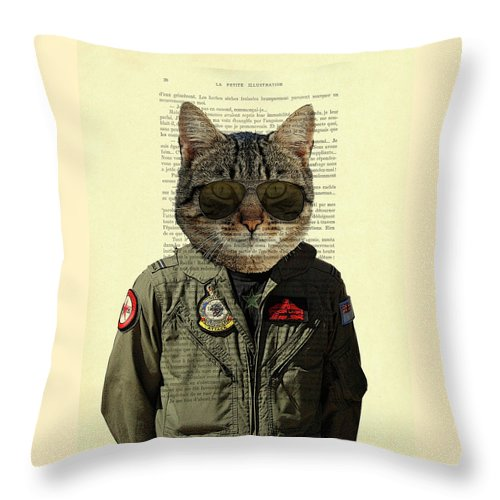 Cat Throw Pillow featuring the digital art Pilot cat portrait on antique book page by Madame Memento