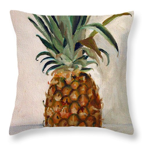 Still-life Throw Pillow featuring the painting Pineapple by Sarah Lynch
