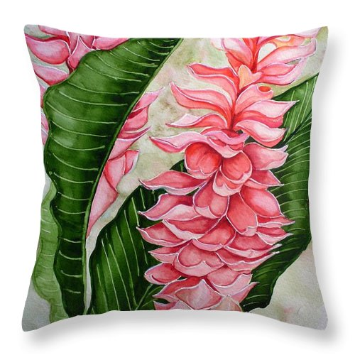 Flower Painting Floral Painting Botanical Painting Ginger Lily Painting Original Watercolor Painting Caribbean Painting Tropical Painting Throw Pillow featuring the painting Pink Ginger Lilies by Karin Dawn Kelshall- Best