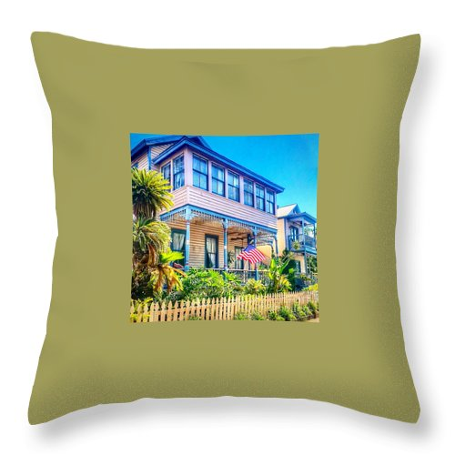 House Throw Pillow featuring the photograph Pink House by Debbi Granruth