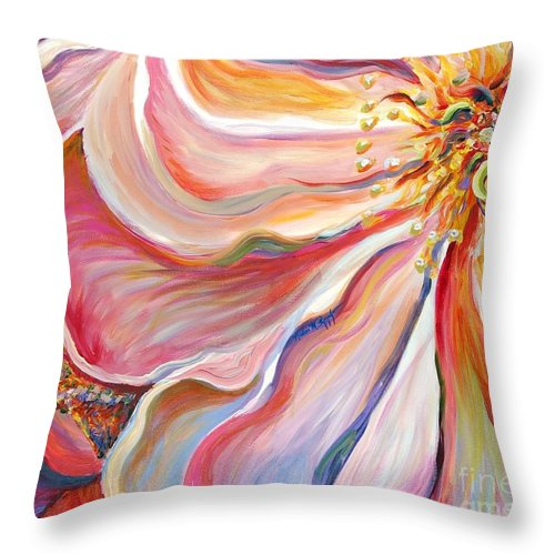 Pink Poppy Throw Pillow featuring the painting Pink Poppy by Nadine Rippelmeyer