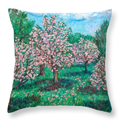 Landscape Throw Pillow featuring the painting Pink Wave by Kendall Kessler