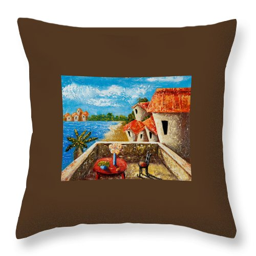 Landscape Throw Pillow featuring the painting Playa Gorda by Oscar Ortiz
