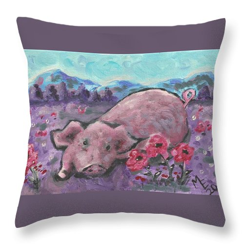 Pig Painting Throw Pillow featuring the painting Playful Pig by Monica Resinger