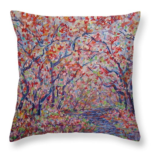 Landscape Throw Pillow featuring the painting Poetic Forest. by Leonard Holland