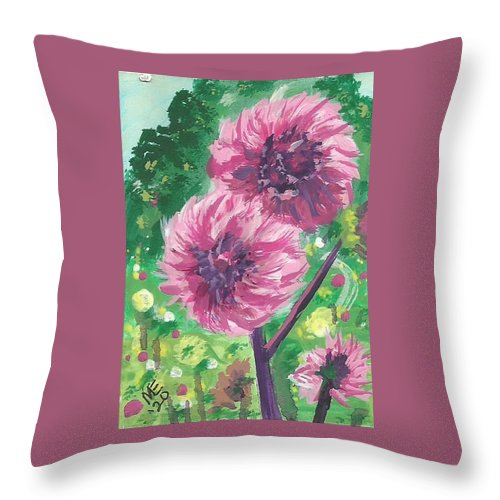 Pompon Dahlias Throw Pillow featuring the painting Pompon Dahlias by Monica Resinger
