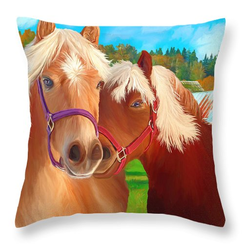 Ponies Throw Pillow featuring the painting Ponies Mike and Sue by David Wagner