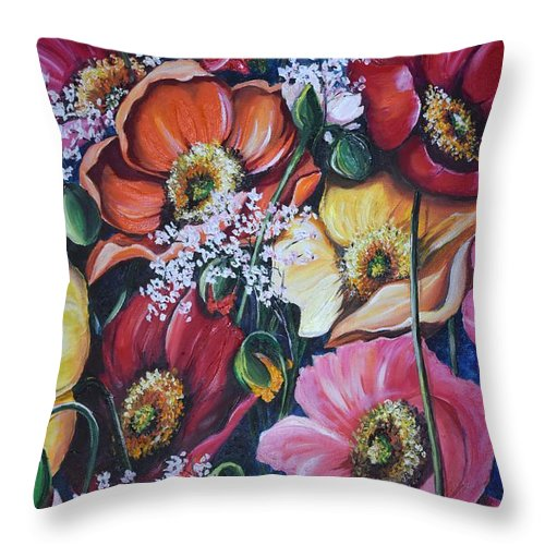 Poppies Throw Pillow featuring the painting Poppies Delight by Karin Dawn Kelshall- Best