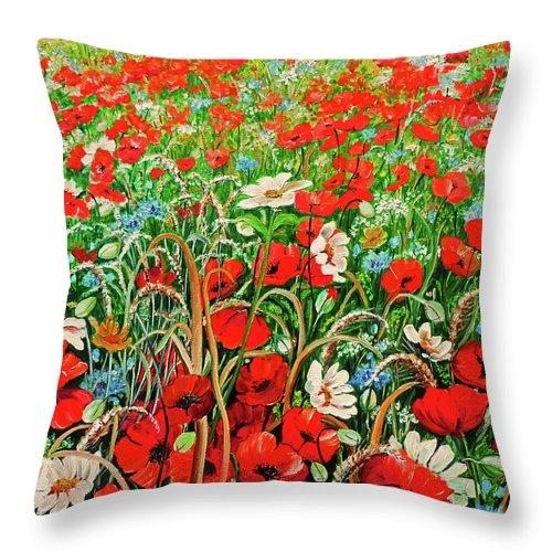 Floral Painting Flower Painting Red Poppies Painting Daisy Painting Field Poppies Painting Field Poppies Floral Flowers Wild Botanical Painting Red Painting Greeting Card Painting Throw Pillow featuring the painting Poppies In The Wild by Karin Dawn Kelshall- Best
