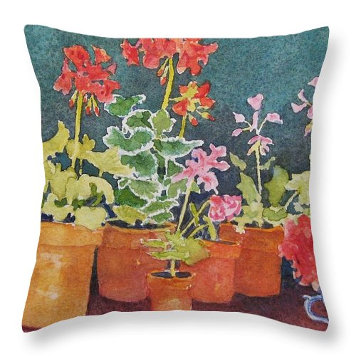 Florals Throw Pillow featuring the painting Potting Shed by Mary Ellen Mueller Legault