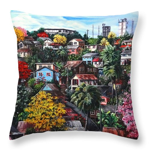 Landscape Painting Cityscape Painting Caribbean Painting Houses Hill Life Color Trees Poui Blossoms Trinidad And Tobago Floral Tropical Caribbean Throw Pillow featuring the painting Poui Calling For The Rains by Karin Dawn Kelshall- Best