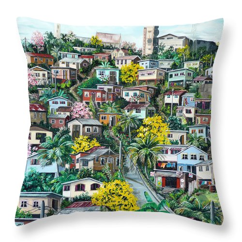 Landscape Painting Cityscape Painting Original Oil Painting  Blossoming Poui Tree Painting Lavantille Hill Trinidad And Tobago Painting Caribbean Painting Tropical Painting Throw Pillow featuring the painting Poui On The Hill by Karin Dawn Kelshall- Best
