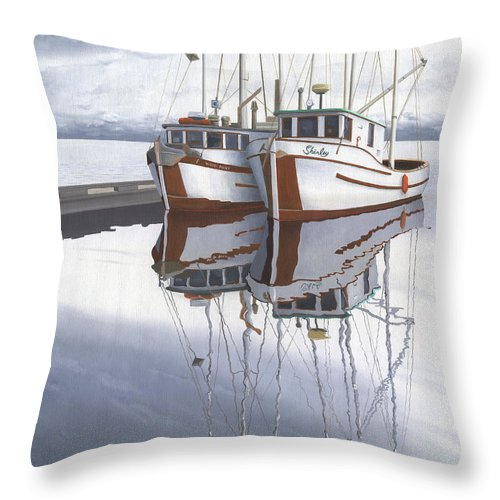 Fishing Boat Throw Pillow featuring the painting Powell River fishing boats by Gary Giacomelli
