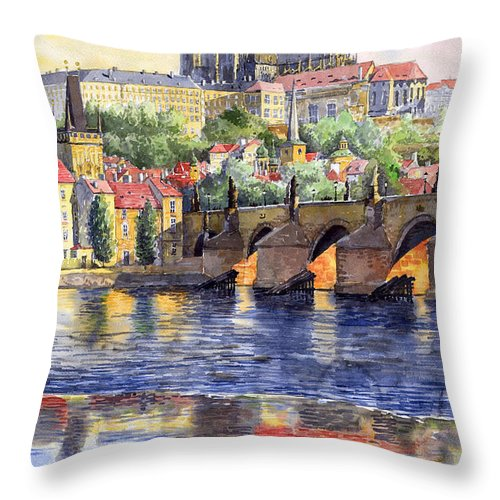 Watercolour Watercolor Prague Praha Cityscape Castle Old City Hous Bridge Throw Pillow featuring the painting Prague Castle with the Vltava River 1 by Yuriy Shevchuk