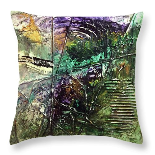 Abstract Art Throw Pillow featuring the painting Premonition Lost by Rodney Frederickson